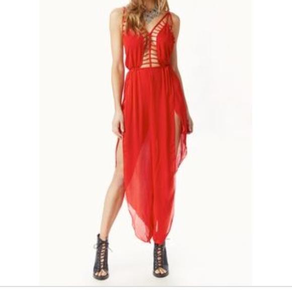 ec283e0c407c Nwt Indah lattice petal silk red hot pantsuit M